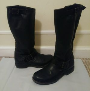 Frye Black Leather Knee-High Buckle Boots